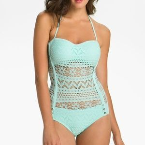 Robin Piccone Penelope Crochet Overlay One Piece